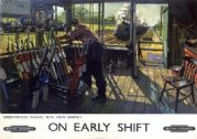 On Early Shift, Greenwood Signal box, New Barnet, London. BR Vintage Travel Poster by Terence Cuneo